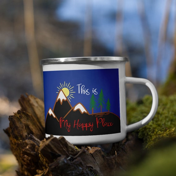 This Is My Happy Place, Enamel Mug, Camp Mug, Mountain Scene, Outdoor, Coffee, Tea