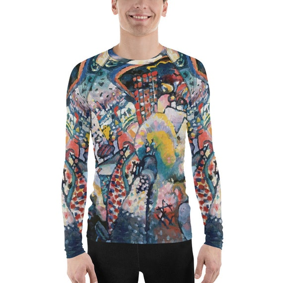 Moscow Cityscape, Unisex Long Sleeve Rash Guard, Wassily Kandinsky, Expressionism
