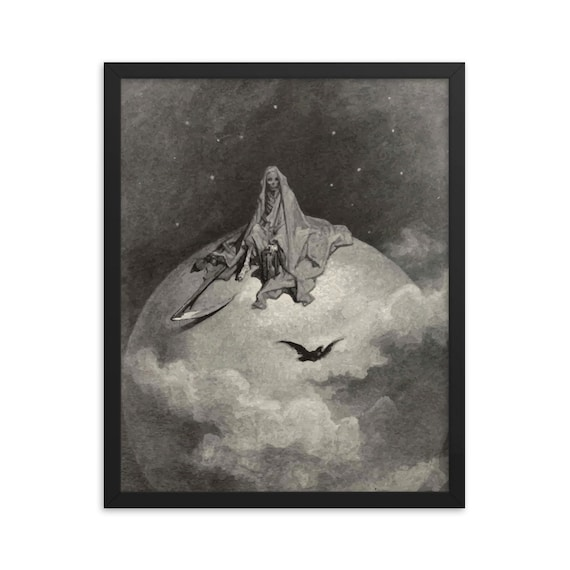 "Death Sits Atop The World, 16"" x 20"" Framed Giclée Poster, Black Wood Frame, Acrylic Covering, Antique Illustration, Gustave Dore"