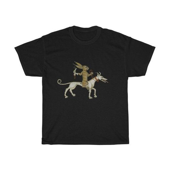 Medieval Rabbit With Pet Snail  T-shirt, Dark Colors, From Medieval Manuscript, Marginalia