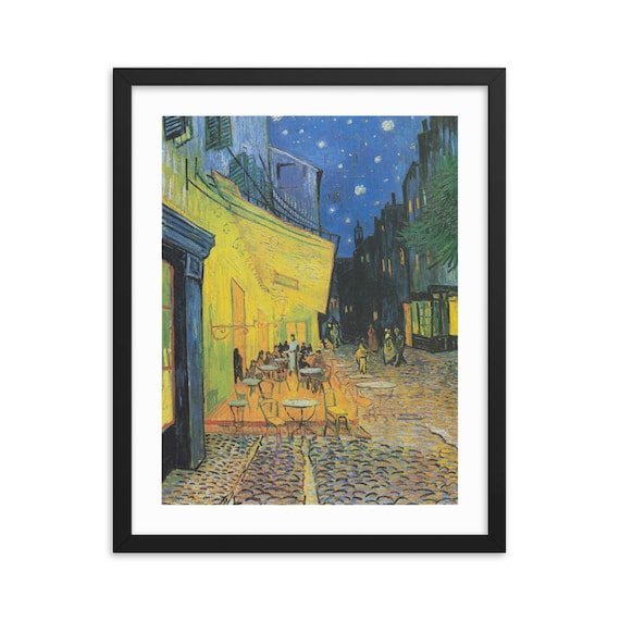 """Cafe Terrace At Night, 20"""" x 16"""" Framed Poster, Black Wood Frame, Acrylic Covering, Vincent Van Gogh, Room Decor"""