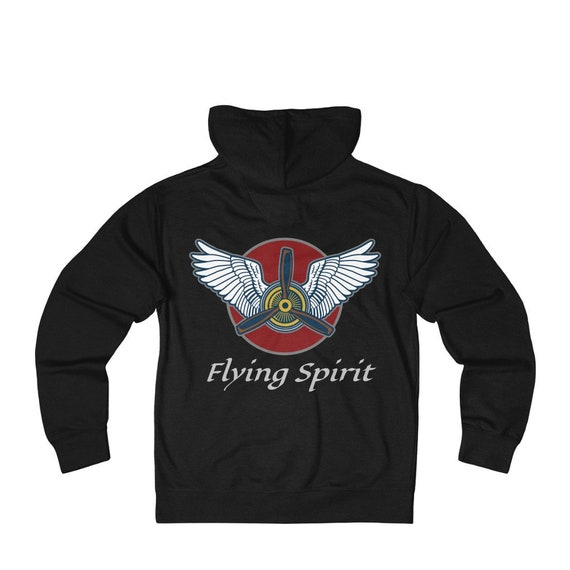 Flying Spirit, Unisex French Terry Zip Hoodie, Vintage Inspired Airplane Engine & Propeller With Angel Wings