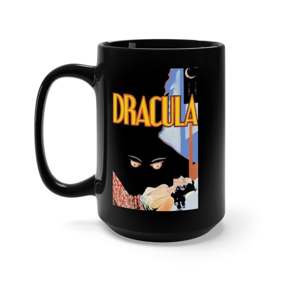 Dracula, Black 15oz Ceramic Mug, From A Vintage 1931 Horror Movie Poster