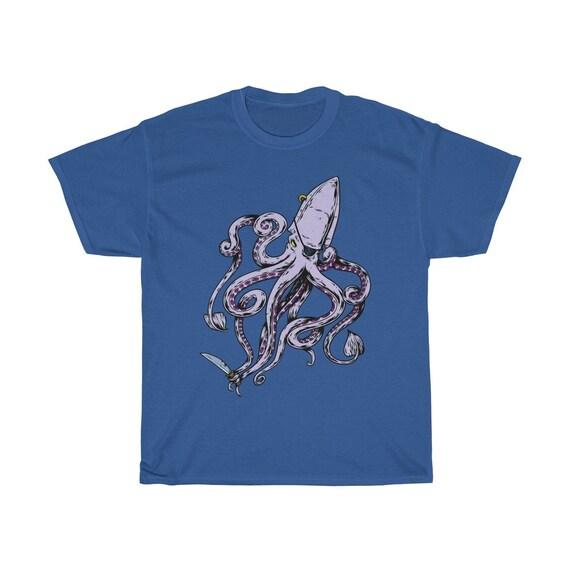 Pirate Octopus, Unisex T-shirt, Eye Patch, Gold Earring, Knife