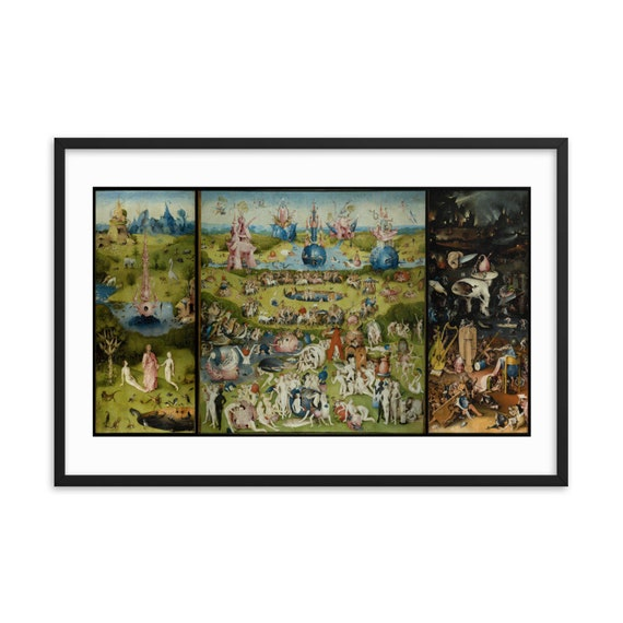 """Garden Of Earthly Delights, 36""""x24"""" Framed Poster, Black Wood Frame, Acrylic Covering, Hieronymus Bosch, Room Decor"""
