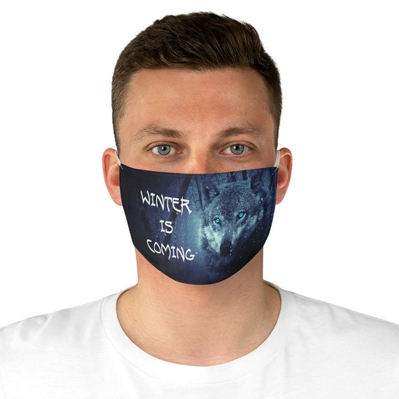 Winter Is Coming Cloth Face Mask, Washable, Reusable, Wolf, Blue Eyes, Inspired By Game Of Thrones