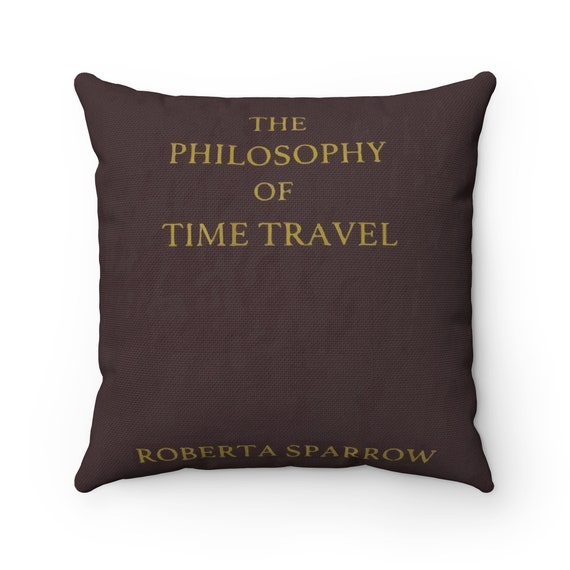 The Philosophy Of Time Travel, Square Pillow, Vintage Movie Book, Donnie Darko