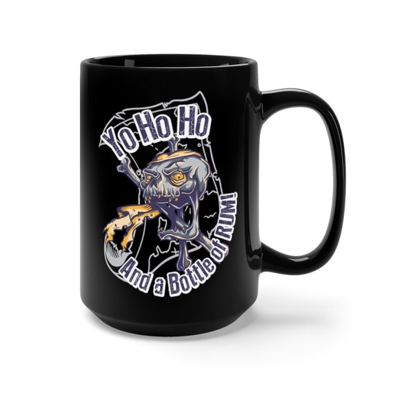 Pirate Skull, Black 15oz Ceramic Mug, Yo Ho Ho And A Bottle Of Rum