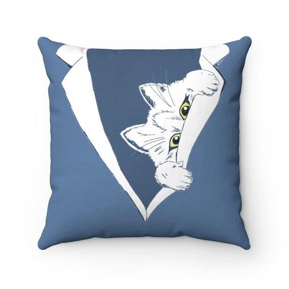 Peekaboo Kitten, Blue Square Pillow
