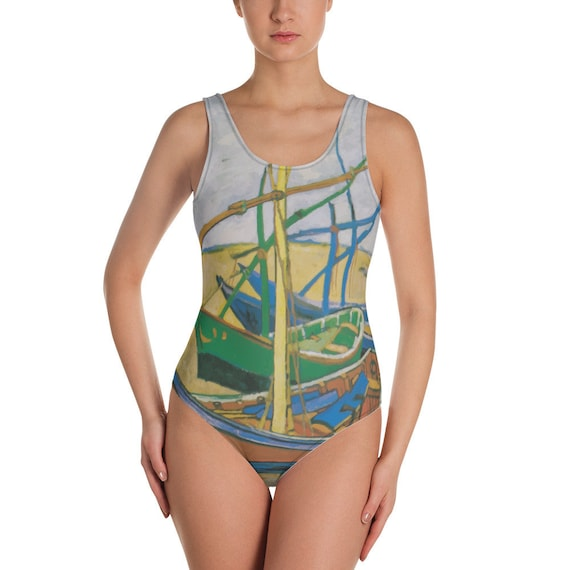 Fishing Boats, Women's One-Piece Swimsuit, Vintage Painting, Van Gogh 1888