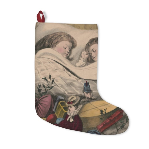 Christmas Stocking With Vintage  Antique Hand Colored Lithograph Of Sleeping Children On Christmas Morning Circa 1870 To 1880