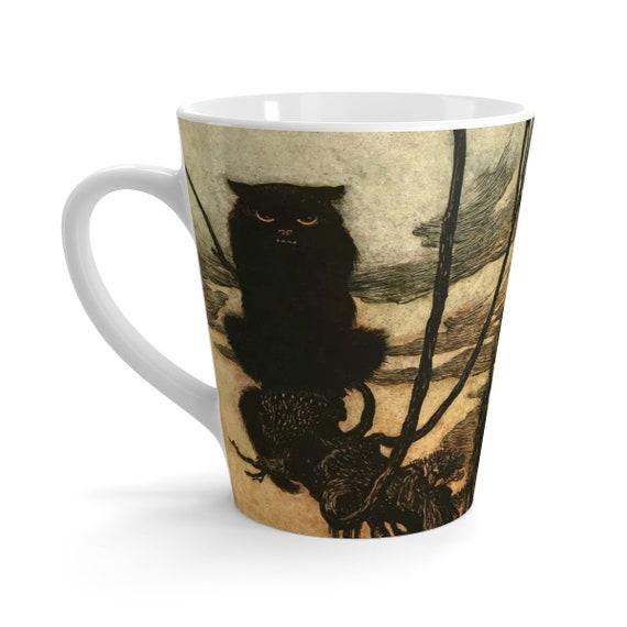 Black Cat, 12oz Latte Mug, Halloween, Vintage Illustration, Arthur Rackham, 1920