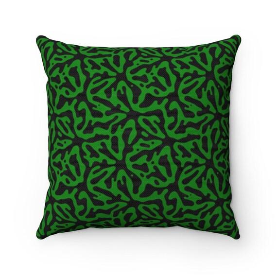 Green & Black Square Pillow, Vintage, Retro