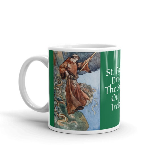 St Patrick Driving The Snakes Out Of Ireland, Coffee Mug, Vintage Illustration
