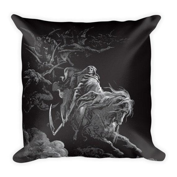 "Death Rides The Pale Horse, 18"" Square Pillow, Vintage, Antique Illustration, Gustave Dore, 1865, Christian Religion"