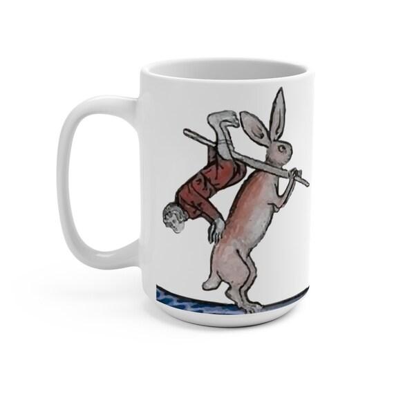 Medieval Hunter Rabbit White 15oz Ceramic Mug, From Medieval Manuscript, Marginalia, Coffee, Tea