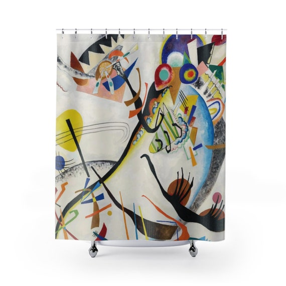 Blue Segment, Shower Curtain, Vintage Abstract Painting, Wassily Kandinsky, 1921