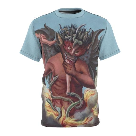 Devil Devours A Sinner V2, Unisex T-shirt, Vintage Illustration, Compendium Rarissimum, Christian Religion, AOP