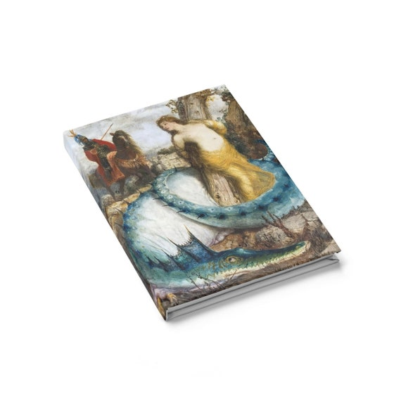 Blue Dragon, Hardcover Journal, Ruled Line, Vintage Painting, Arnold Bocklin, 1873