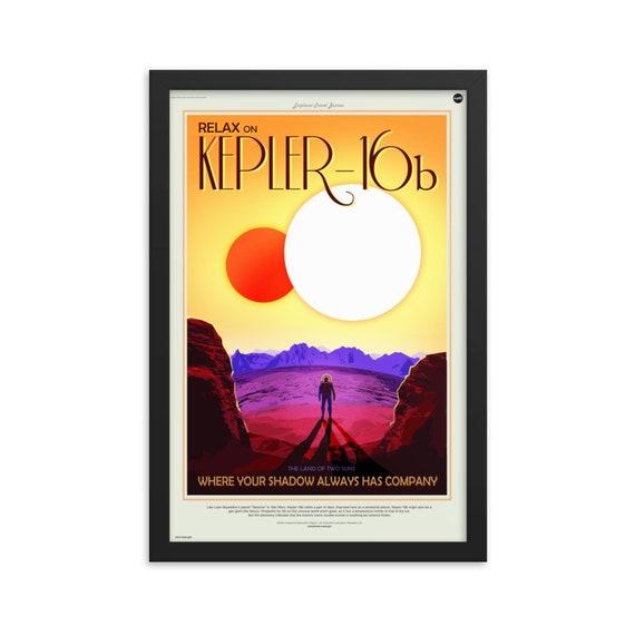 "Exoplanet Travel Bureau #4 of 7, 12"" x18"" Framed Poster, Black Wood Frame, Acrylic Covering, Fake Vintage/Retro Style NASA Travel Poster"