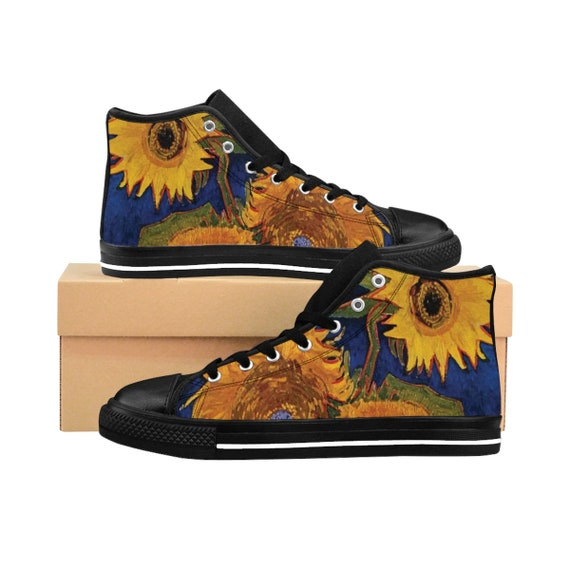 Six Sunflowers, Women's High-top Sneakers, Vintage Painting, Van Gogh 1888