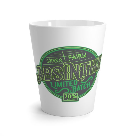 Green Fairy Absinthe Latte Mug, Vintage/Retro Style Logo, Coffee, Tea