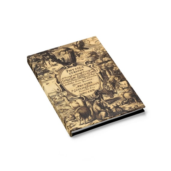 Physica Curiosa, Hardcover Journal, Opens Flat, Ruled Line, Title Page From A Vintage Book
