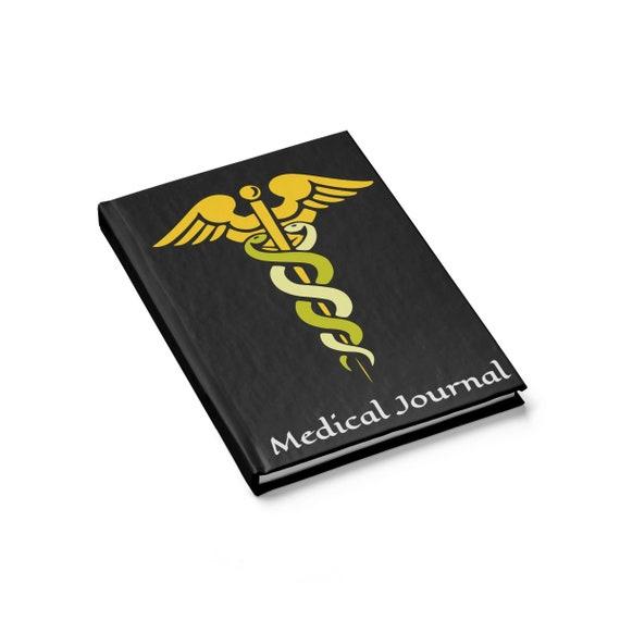 Caduceus Medical Journal, Hardcover Journal, Ruled Line, Vintage Inspired Image