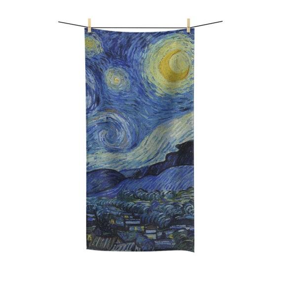 Starry Night, Poly-cotton Bath Towel, Vintage Painting, Van Gogh 1889