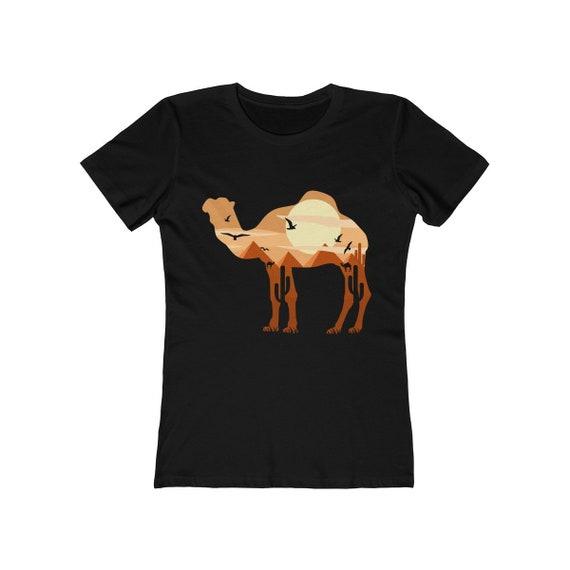 Desert Camel, Women's Boyfriend Tee, Vintage Inspired Camel Image