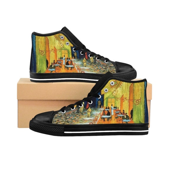 Cafe Terrace At Night, Men's High-top Sneakers, Vincent Van Gogh [Special Order]