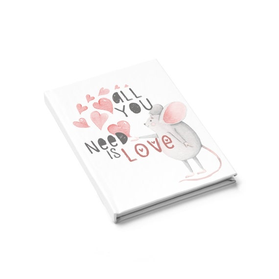 All You Need Is Love, Hardcover Journal, Ruled Line, Valentine's Day Gift, Vintage Inspired Illustration