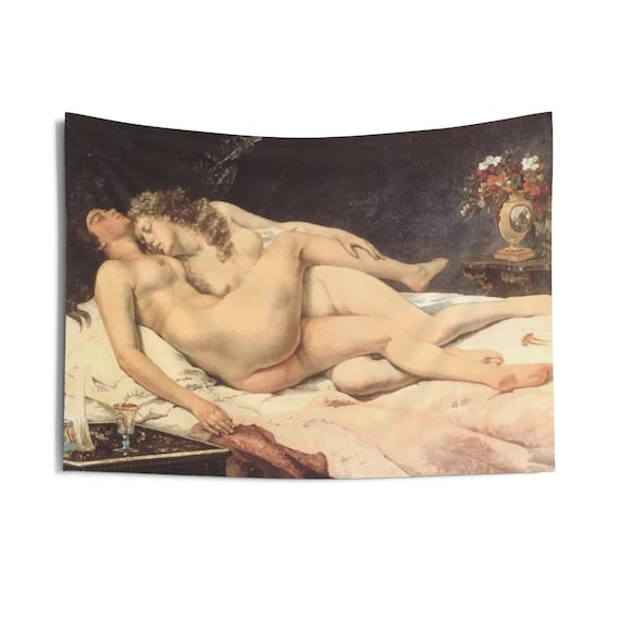 "Victorian Lesbians, Indoor Wall Tapestry, 36""x26"", Vintage Painting, Gustave Courbet, 1866"