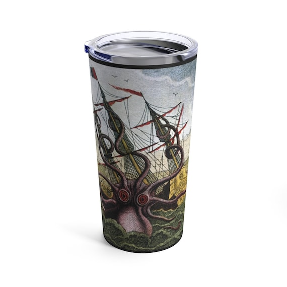 Kraken Attacks Ship Lantern 20oz Tumbler, Octopus, Giant Squid, Leviathan, Vintage