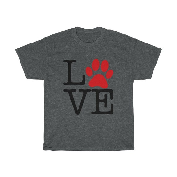 Love Paw Print, Unisex T-shirt, I Love Dogs, I Heart Dogs