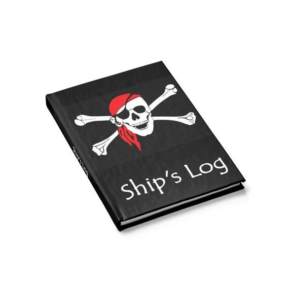 Skull & Crossbones Ship's Log Book, Journal, Hardcover, Ruled Line, Pirate Flag, Jolly Roger, Notebook