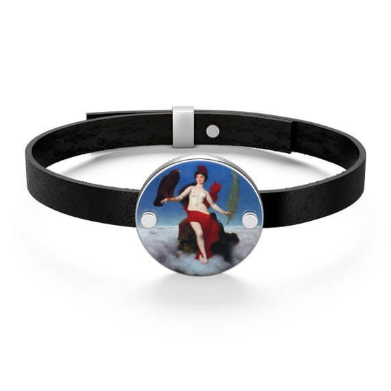 Helvetia, Sterling Silver & Leather Bracelet, Antique Painting, Swiss Lady Of Freedom