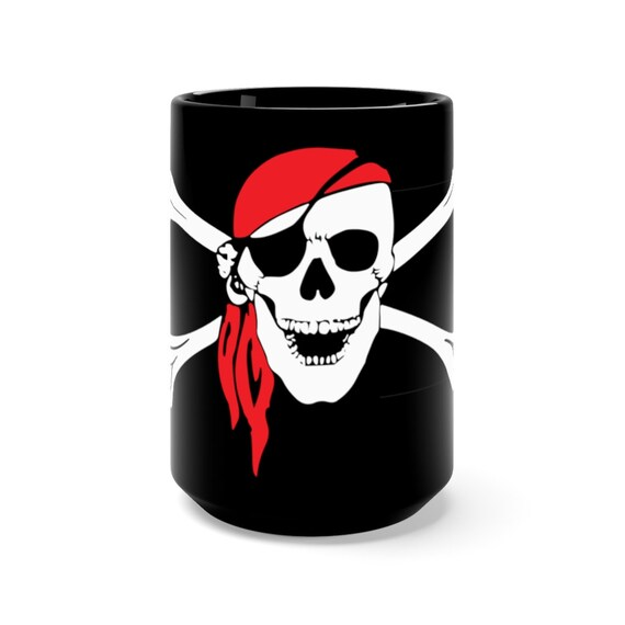 Skull & Crossbones, Black 15oz Ceramic Mug, Pirate Flag, Jolly Roger, Coffee, Tea