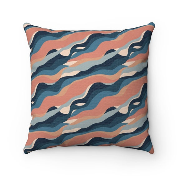 Abstract Waves Square Pillow, Mid-century, Vintage, Retro