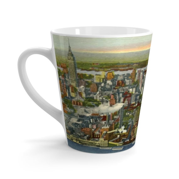 Mid-town Manhattan 1951, 12oz Latte Mug, Vintage Postcard, Curt Teich