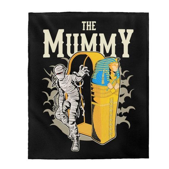 The Mummy, Velveteen Plush Blanket, Vintage Retro Style Design, Horror Movie, Pop Culture