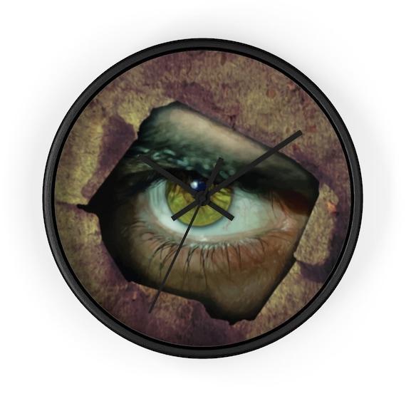 """Peephole, 10"""" Wall Clock, Creepy, Horror"""