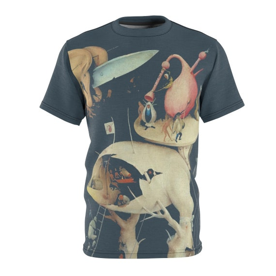 Tree Man, Gray Unisex T-shirt, Surreal, Hieronymus Bosch, The Garden of Earthly Delights