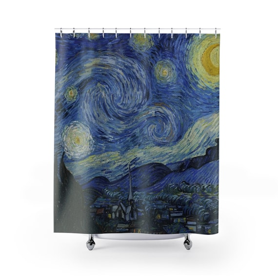 Starry Night, Polyester Shower Curtain, Vintage Painting, Van Gogh 1889