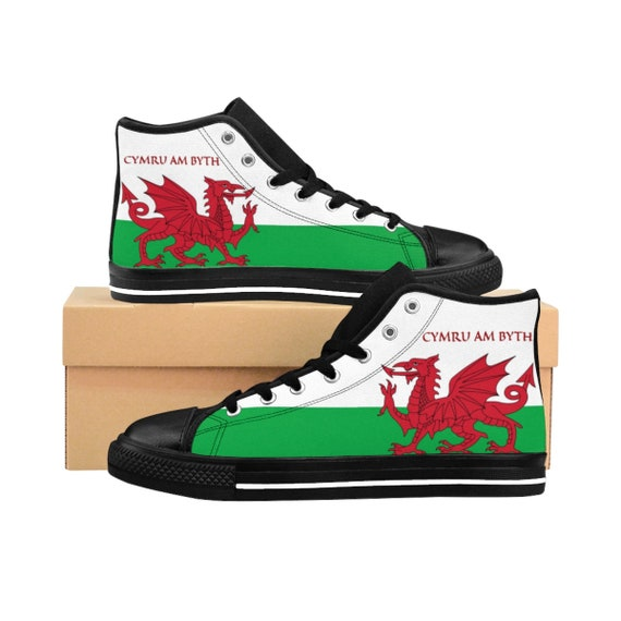 Cymru Am Byth, Men's High-top Sneakers, Red Dragon, Flag Of Wales, Welsh Motto, Welsh Pride