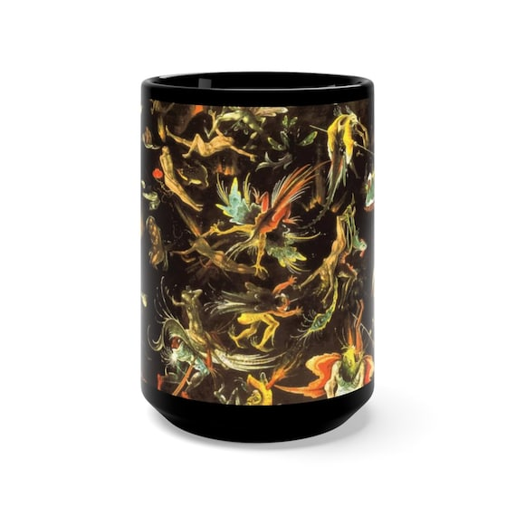 The Last Judgement, Black 15oz Ceramic Mug, Follower of Hieronymus Bosch