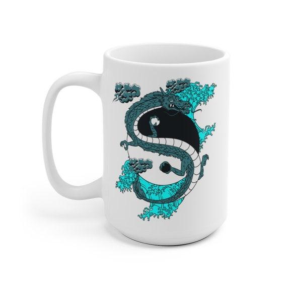 Yin-Yang Dragon Large White Ceramic Mug, Japanese & Chinese Folklore, Coffee, Tea