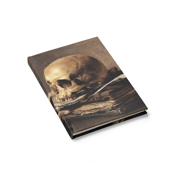 Skull Looking Left, Hardcover Journal, Ruled Line, Vanitas Still Life