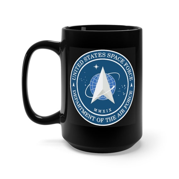 Space Force Insignia Logo, Black 15oz Ceramic Mug, From Official USSF Seal, Military