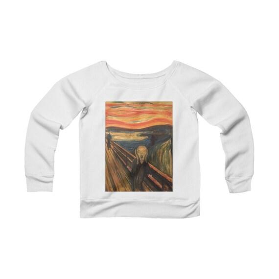 The Scream, Women's Sponge Fleece Wide Neck Sweatshirt, Vintage, Antique Painting, Edvard Munch, 1893
